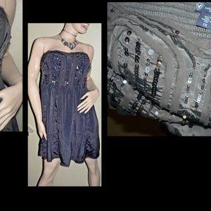 Sexy Strapless Party Dress Sz 12 Gray Goth Glam
